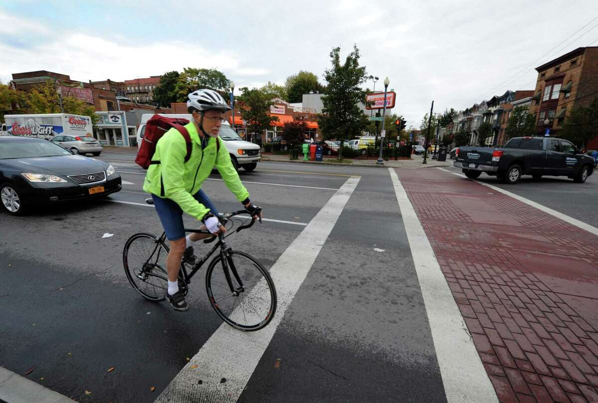 Nobel Prize-winning South African novelist J.M. Coetzee, a cycling enthusiast, takes a bick ride through the Capital Region in Albany, NY Friday Oct. 12, 2012. (Michael P. Farrell/Times Union)