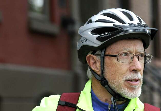 Nobel Prize-winning South African novelist J.M. Coetzee, a cycling enthusiast, in Albany, NY Friday Oct. 12, 2012. (Michael P. Farrell/Times Union) Photo: Michael P. Farrell