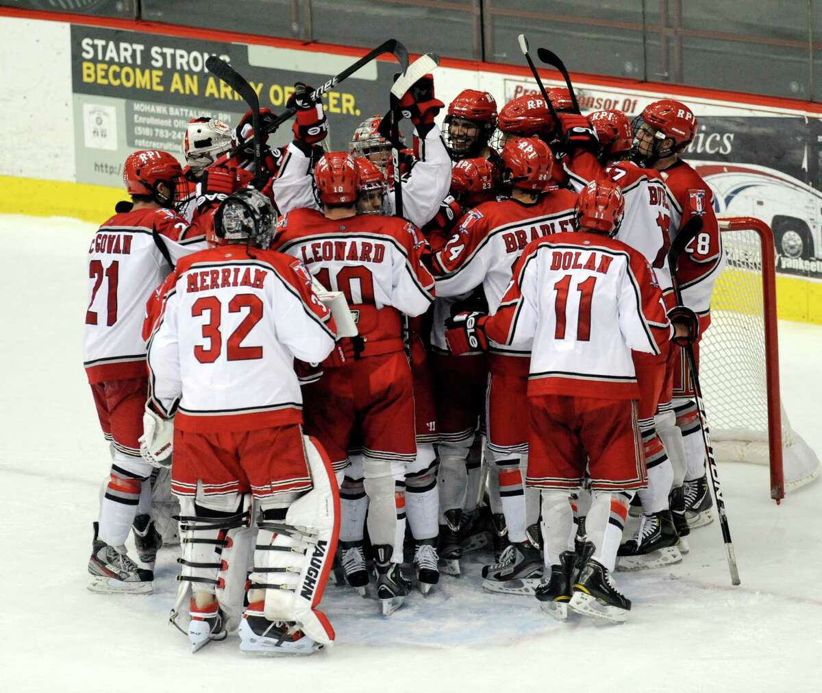 Rensselaer Polytechnic Institute's celebrates a 3-1 win over Ferris State during their college hockey game in Troy N.Y., Friday, Oct. 12, 2012. (Hans Pennink / Special to the Times Union) College Sports.