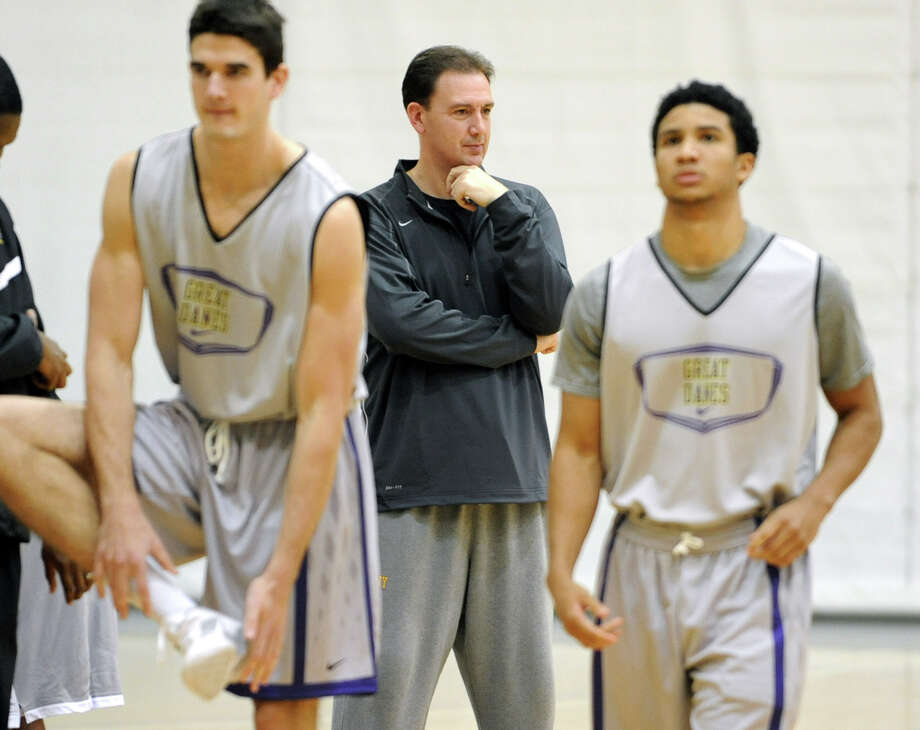 UAlbany basketball head coach Will Brown watches his players warm up during the first practice of the season Friday, Oct. 12, 2012 in Albany, N.Y. (Lori Van Buren / Times Union) Photo: Lori Van Buren