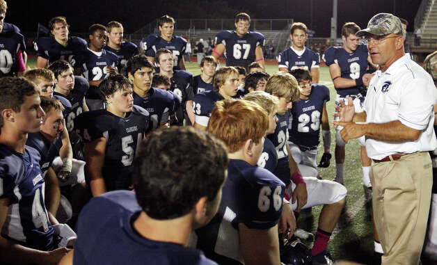 Boerne Champion head coach Danny Threadgill talks with the team after the game with Kerrville Tivy Friday Oct. 12, 2012 at Boerne Independent School District Stadium in Boerne, TX.  Kerrville Tivy won 27-14. Photo: Edward A. Ornelas, Express-News / © 2012 San Antonio Express-News