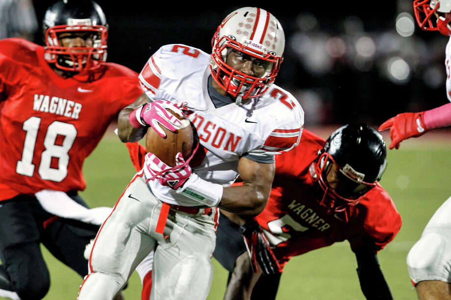 "Judson running back Jarveon Williams takes off on an 80-yard touchdown reception during the second quarter of their game at Rutledge Stadium on Oct. 12, 2012.  Judson won the ""Hammer Bowl"" 30-0.  MARVIN PFEIFFER/ mpfeiffer@express-news.net Photo: MARVIN PFEIFFER, Express-News / Express-News 2012"