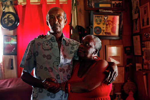 "Pelham native Frederick Carruthers, stands with his wife of 10 years and partner of 21 years, Sheila, at their home in Pelham on August 12, 2012. ""It's just like one big family in Pelham,"" Sheila says of her adopted home. Photo: Lisa Krantz, San Antonio Express-News / © 2012 San Antonio Express-News"