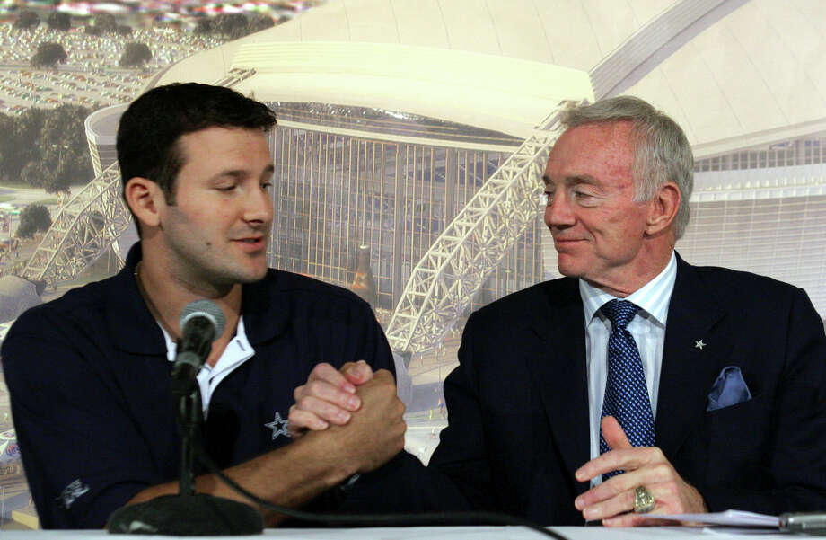 Hate:He's got a man crush on quarterback Tony Romo and seems hell bent on signing him to a long-term extension.  LM Otero/Associated Press Photo: LM Otero, Associated Press / AP