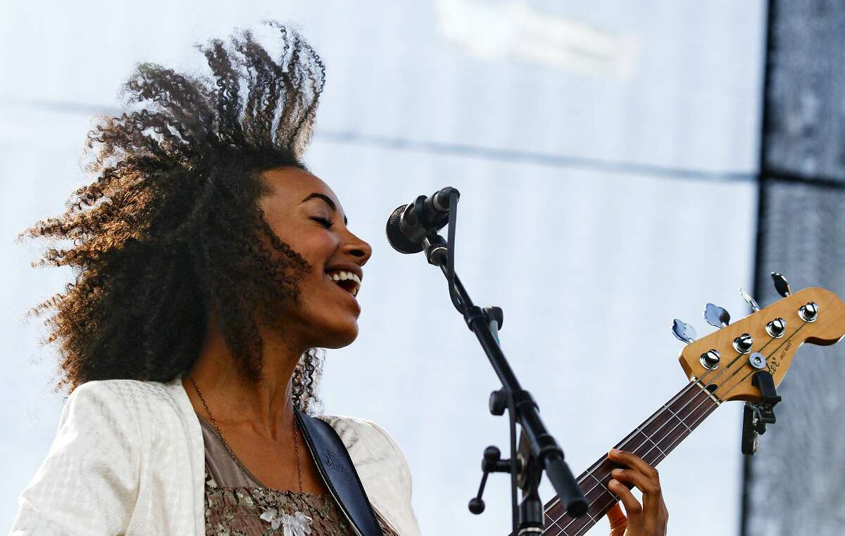 Esperanza Spalding performs at Austin City Limits Music Festival on Friday, Oct. 12 2012 in Austin, Texas. (Photo by Jack Plunkett/Invision/AP)