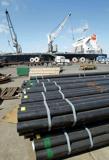 A load of steel sits  on the dock at the Port of Houston as a ship  is unloaded earlier  this year. Photo: Karen Warren / © 2012  Houston Chronicle