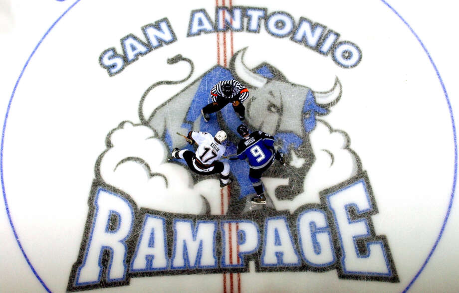 A decade ago, the San Antonio Rampage opened their inaugural season at what was then the SBC Center. The top affiliate of the Florida Panthers, the new American Hockey League club was coached by San Antonio hockey legend John Torchetti for most of the season, used NHL veterans and young talent to reach the post-season, and helped launch the NHL careers of dozens of farmhands from the Panthers and later, the Phoenix Coyotes. Because of the uncertainty of the SBC Center's availability, the Rampage played their first six games on the road, going 1-5 before opening their home schedule on Nov. 3, 2002. Here's a look at that first Rampage team from 10 years ago, as the franchise launches its second decade in the Alamo City. Photo: WILLIAM LUTHER, SAN ANTONIO EXPRESS-NEWS / SAN ANTONIO EXPRESS-NEWS