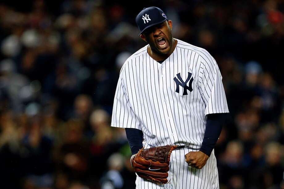 NEW YORK, NY - OCTOBER 12:  CC Sabathia #52 of the New York Yankees reacts after getting out of the eighth inning against the Baltimore Orioles during Game Five of the American League Division Series at Yankee Stadium on October 12, 2012 in New York, New York. Photo: Elsa, Getty Images / 2012 Getty Images