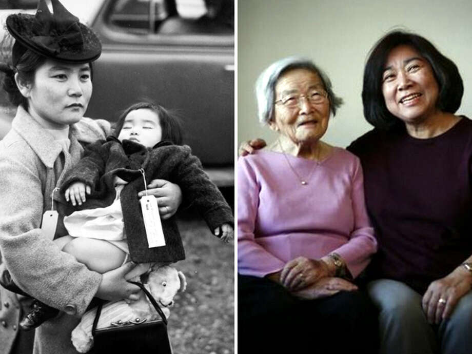 On the left, Fumiko Hayashida and her daughter Natalie Ong are photographed on Bainbridge Island on March 30, 1942. The picture on the right was taken at Hayashida's Seattle home in 2009, 67 years after the now-iconic photo was made. Photo: Seattlepi.com File/MOHAI/Joshua Trujillo,  -
