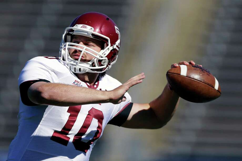 Temple quarterback Chris Coyer throws before an NCAA football game against Connecticut in East Hartford, Conn., Saturday, Oct. 13, 2012. (AP Photo/Michael Dwyer) Photo: Michael Dwyer, Associated Press / AP