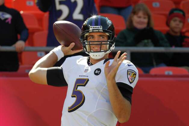 Baltimore Ravens quarterback Joe Flacco (5) warms up before an NFL football game against the Kansas City Chiefs at Arrowhead Stadium in Kansas City, Mo., Sunday, Oct. 7, 2012. (AP Photo/Orlin Wagner) Photo: Orlin Wagner, Associated Press / AP