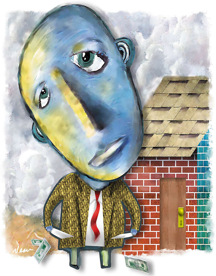 "200 dpi 44p x 56p Rick Nease color illustration of a blue-faced man looking up with sad eyes as he displays his empty coat pockets in front of a brick house with a ""For Sale""and ""Sold"" signs  Detroit Free Press 1999   Companion KRT Interactive Web package is available on this subject. Photo: Rick Nease /  KRT 1999"