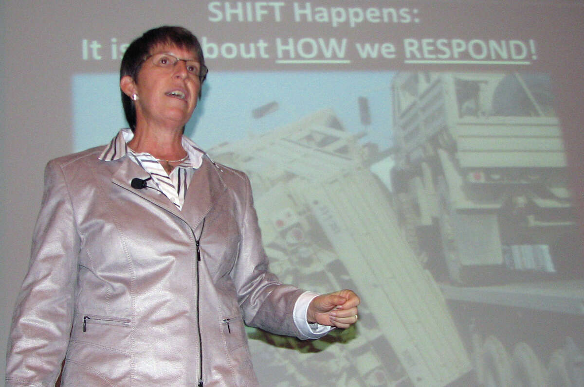 Retired Army Brig. Gen. Becky Halstead talks Saturday about her career at the Grace After Fire fall summit,