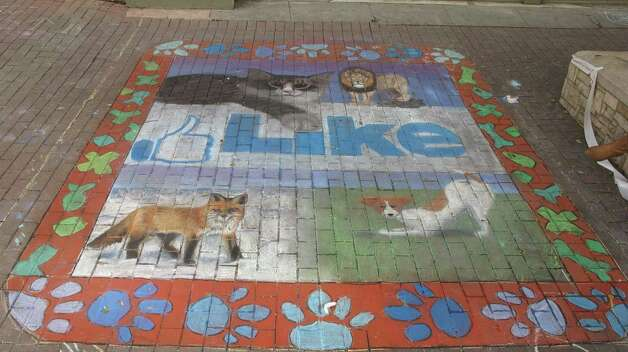 The work of Saint Mary's Hall Upper School at Chalk It Up on Saturday. Photo: Benjamin Olivo/mySA.com