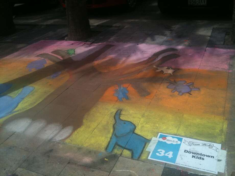 A piece by the group Downtown Kids at Chalk It Up on Saturday. Photo: Benjamin Olivo/mySA.com