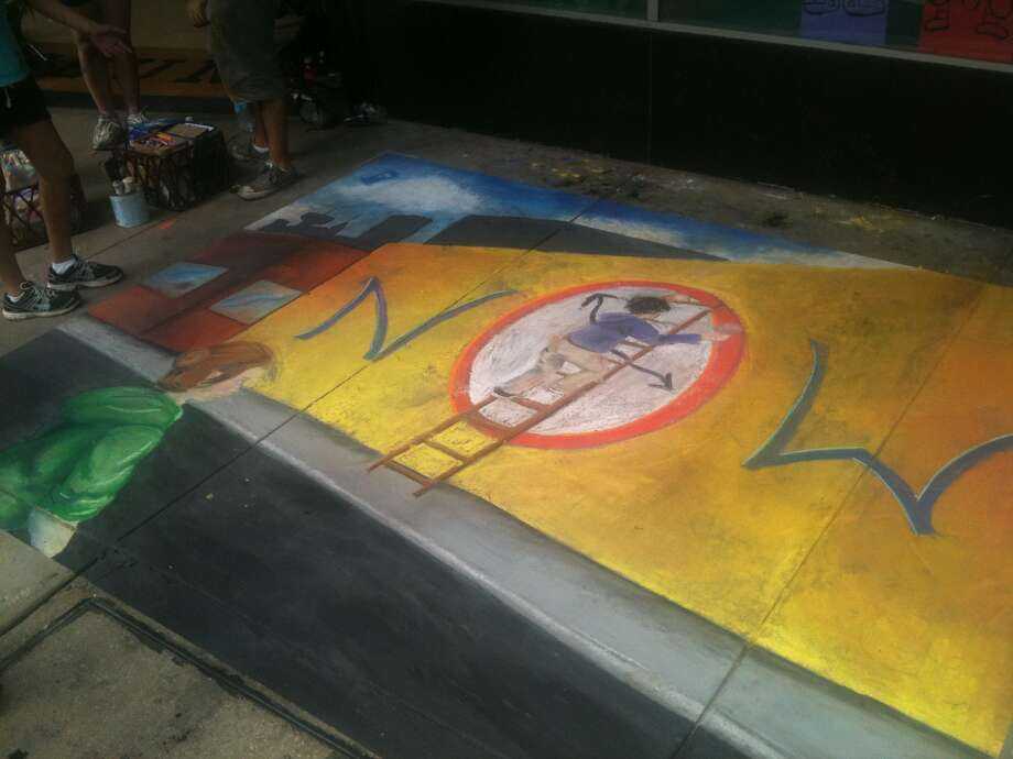 The work of students from the Clark High SChool Art Club at Chalk It Up on Saturday. Photo: Benjamin Olivo/mySA.com
