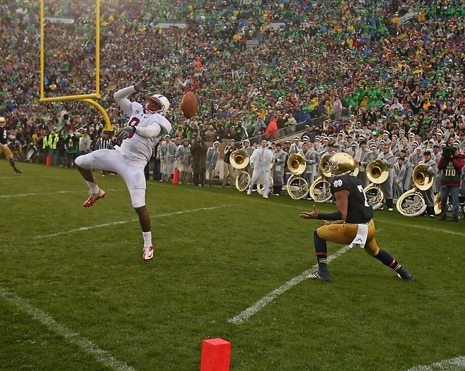 Stanford's Jordan Richards breaks up an end zone pass intended for Notre Dame's T.J. Jones, but Jones eventually scored the winning touchdown in overtime. Photo: Jonathan Daniel, Getty Images