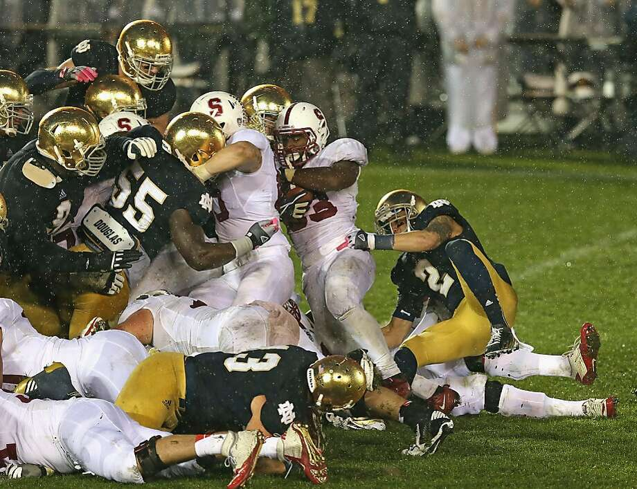 Stanford's Stepfan Taylor is ruled short of the goal line on the game's final play, in overtime. Photo: Jonathan Daniel, Getty Images