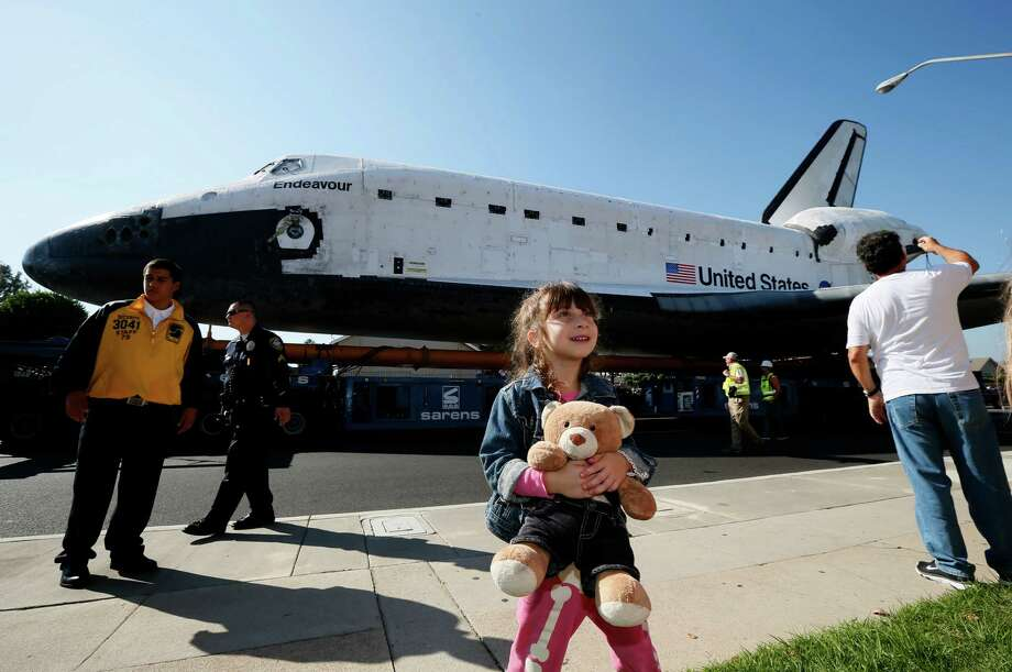The Space Shuttle Endeavour is moved to the California Science Center on October 13, 2012 in Inglewood, California. The space shuttle Endeavour is on 12-mile journey from Los Angeles International Airport to the California Science Center to go on permanent public display. Photo: Pool, Getty Images / 2012 Getty Images