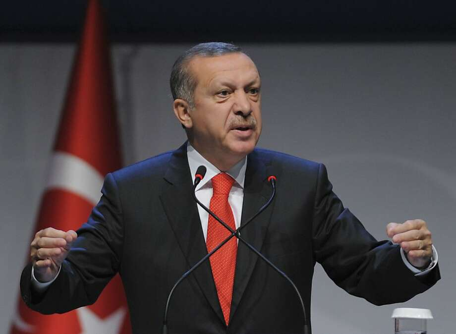 Prime Minister Recep Tayyip Erdogan, at a forum in Istanbul, sharply criticizes the U.N. Security Council for not taking steps to end the civil war in Syria. Photo: Associated Press