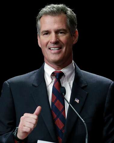 Republican Sen. Scott Brown speaks during a debate with Democratic challenger Elizabeth Warren in Springfield, Mass., Wednesday Oct. 10, 2012. (AP Photo/Elise Amendola) Photo: Elise Amendola, Associated Press / AP