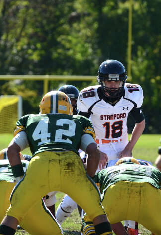 Stamford's Tyler Kane (18) on the field during the football game against Trinity at Trinity Catholic High School in Stamford on Saturday, Oct. 13, 2012. Photo: Amy Mortensen / Connecticut Post Freelance