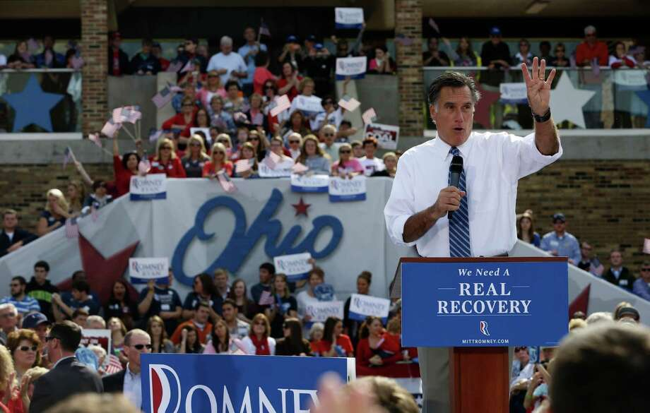 Republican presidential candidate and former Massachusetts Gov. Mitt Romney campaigns at Shawnee State University in Portsmouth, Ohio, Saturday, Oct. 13, 2012. (AP Photo/Charles Dharapak) Photo: Charles Dharapak / AP