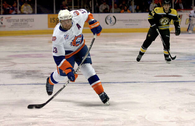 Sound Tigers #13 Colin McDonald, during home opener hockey action against Providence at the Webster Bank Arena in Bridgeport, Conn. on Friday October 13, 2012. Photo: Christian Abraham / Connecticut Post