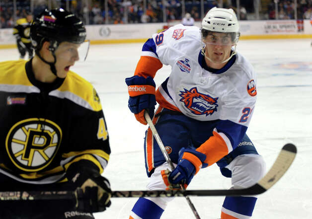 Sound Tigers #29 Brock Nelson, during home opener hockey action against Providence at the Webster Bank Arena in Bridgeport, Conn. on Friday October 13, 2012. Photo: Christian Abraham / Connecticut Post