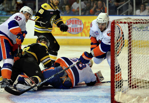 Sound Tigers #77 Kirill Kabanov helps defend the net, during home opener hockey action against Providence at the Webster Bank Arena in Bridgeport, Conn. on Friday October 13, 2012. Photo: Christian Abraham / Connecticut Post