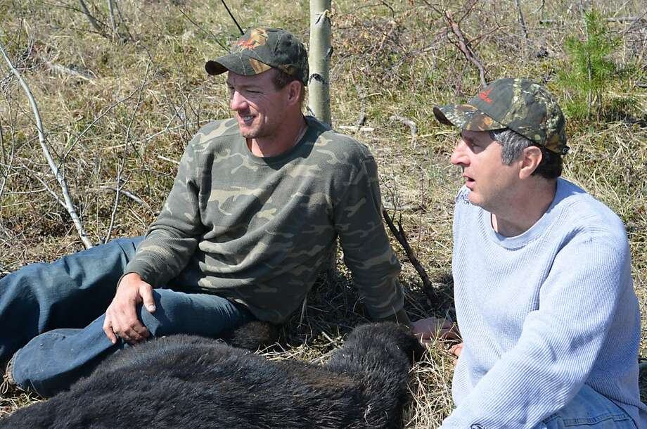 Mike Pawlawski (left), Cal quarterback of 1988-1991, hunting in Alberta with Washington State coach Mike Leach in May. Photo: Courtesy Of Mike Pawlawski