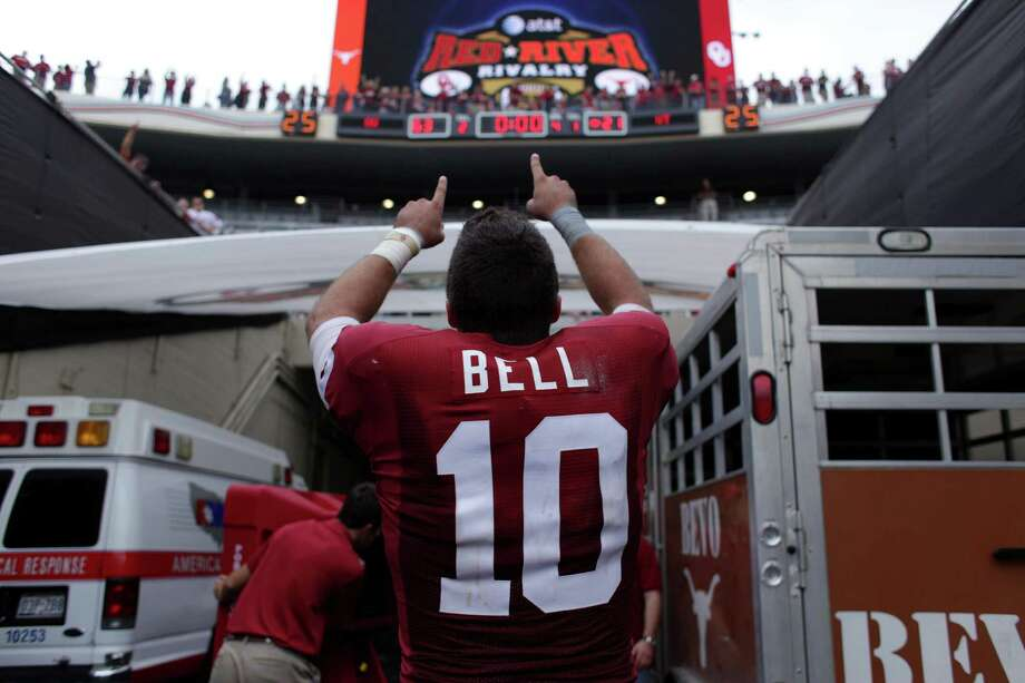 Oklahoma quarterback Blake Bell celebrates after their 63-21 win over Texas in an NCAA college football game, Saturday, Oct. 13, 2012 in Dallas, Texas.  (AP Photo/The Daily Texan, Lawrence Peart) Photo: Lawrence Peart, Associated Press / The Daily Texan