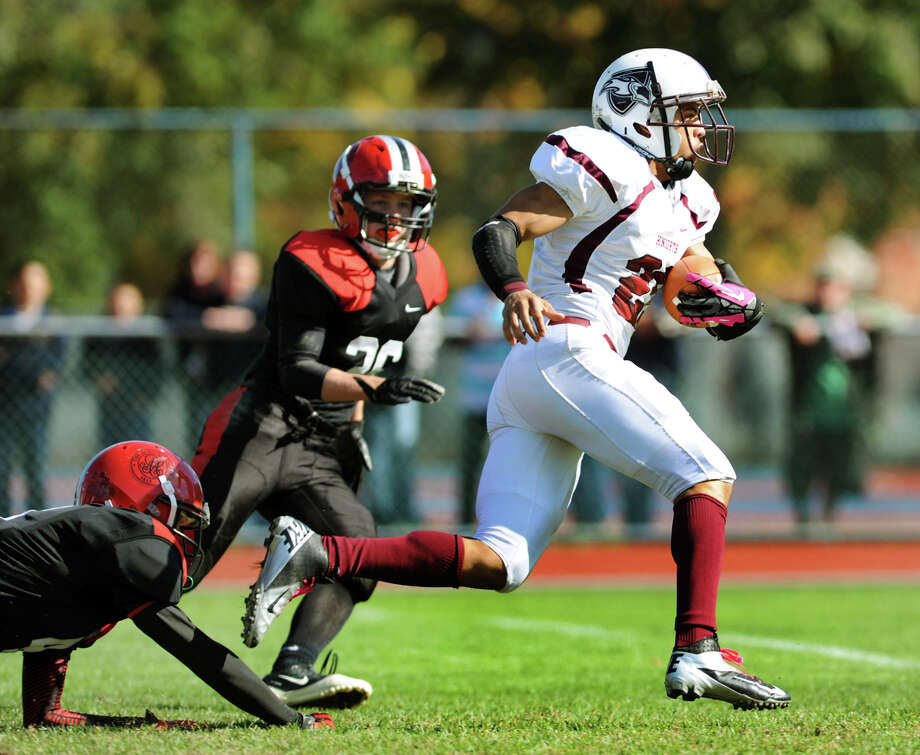 Lansingburgh's Anthony Walker (21), right, runs in for a touchdown during their football game against Albany Academy on Saturday, Oct. 13, 2012, at Albany Academy in Albany, N.Y. (Cindy Schultz / Times Union) Photo: Cindy Schultz / 00019609A