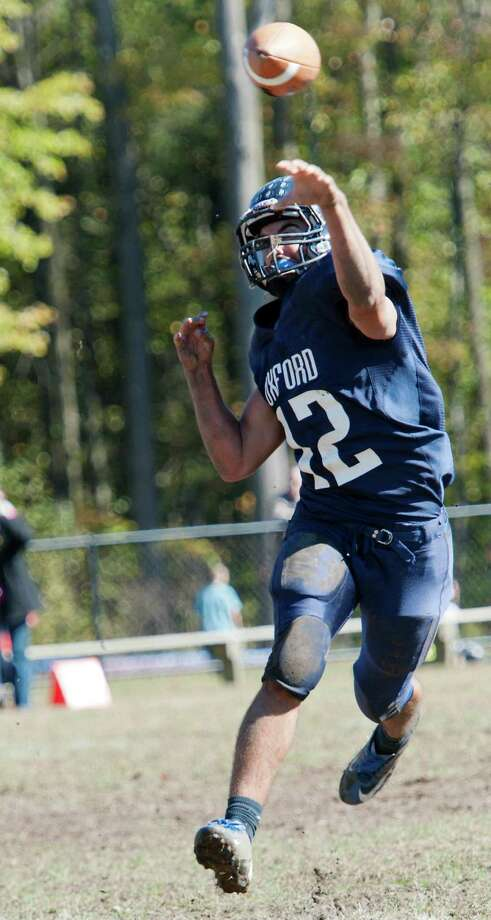Newtown high school vs Oxford high school in a football game held at Oxford high School, Oxford, CT on Saturday October 13th, 2012. Photo: Mark Conrad / Connecticut Post Freelance