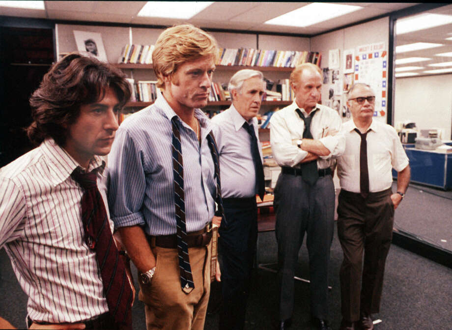 """All the President's Men"" (1976) - Pictured are, from the left,  Dustin Hoffman, Robert Redford, Jason Robards, Jack Warden and Martin Balsam. (AP Photo/File) / WARNER BROTHERS"