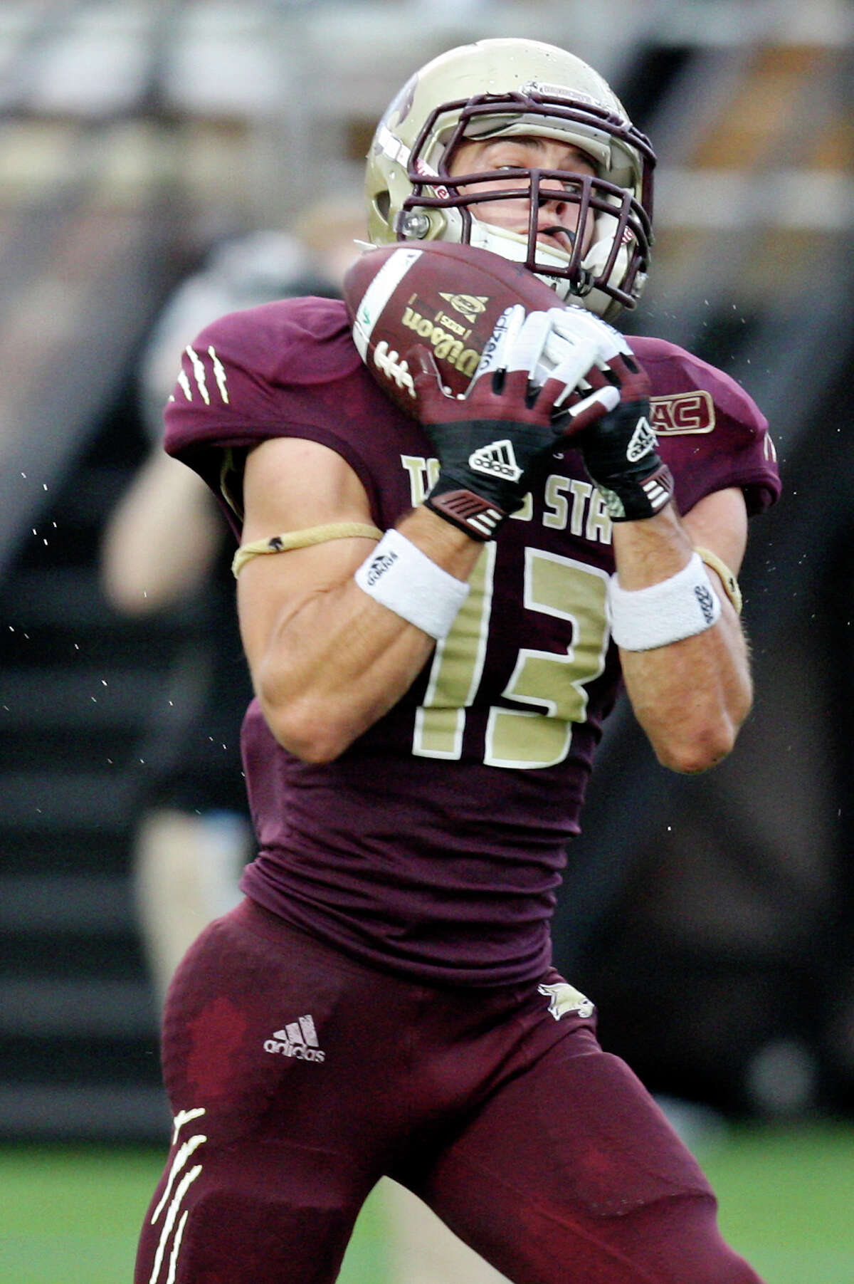 Texas State Bobcats' Andy Erickson catches a pass during first half action against the Idaho Vandals Saturday Oct. 13, 2012 at Bobcat Stadium in San Marcos, Tx. Erickson scored a touchdown on the play.