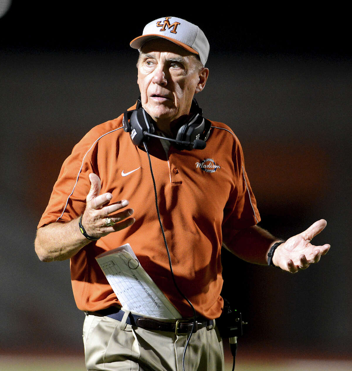 Madison head coach Jim Streety during a 26-5A Football game between the Reagan Rattlers and the Madison Mavericks at Heroes Stadium in San Antonio, Saturday, October 13, 2012. John Albright / Special to the Express-News.