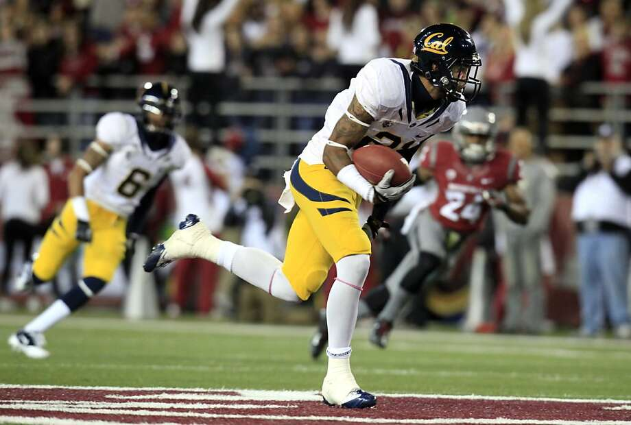 Cal's Keenan Allen regains his balance, then takes off to complete a 69-yard touchdown reception in the first quarter against Washington State. Allen had 11 catches for 166 yards. Photo: Dean Hare, Associated Press