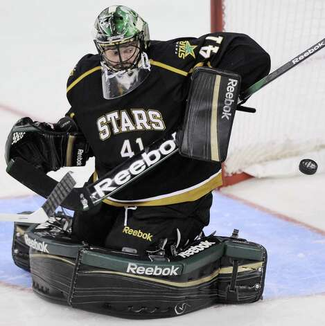 Texas Stars goaltender Cristopher Nilstorp makes a save during the second period of an AHL hockey game against the San Antonio Rampage, Saturday, Oct. 13, 2012, in San Antonio. Texas won 2-1. (Darren Abate/pressphotointl.com) Photo: Darren Abate, Express-News / Darren Abate/pressphotointl.com