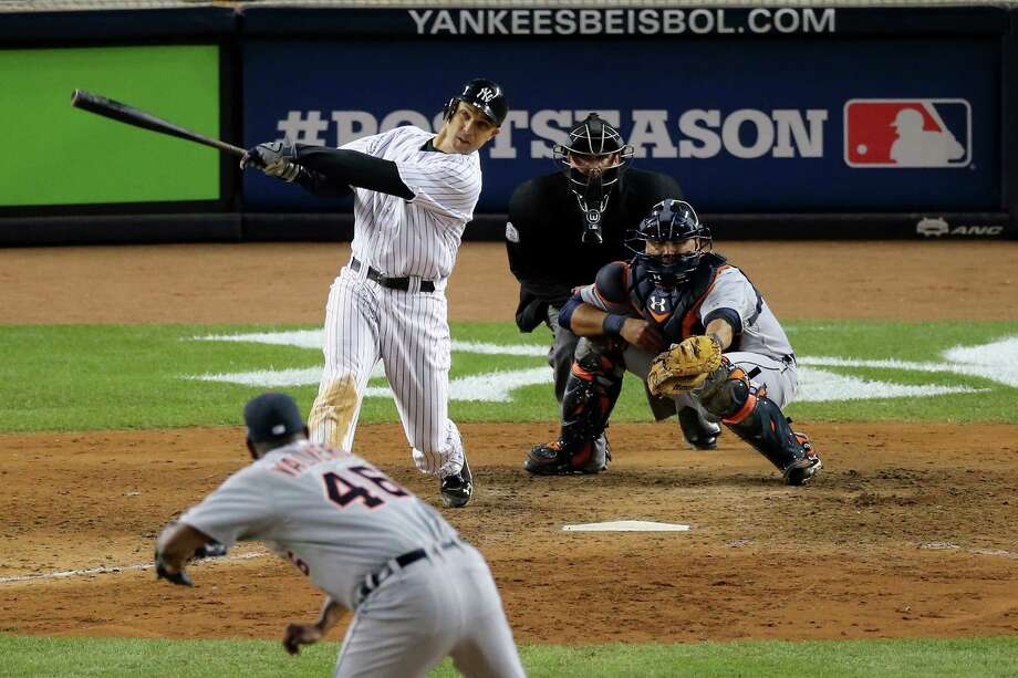 NEW YORK, NY - OCTOBER 13:  Raul Ibanez #27 of the New York Yankees hits a 2-run home run in the bottom the ninth inning off of Jose Valverde #46 of the Detroit Tigers during Game One of the American League Championship Series at Yankee Stadium on October 13, 2012 in the Bronx borough of New York City, New York.  (Photo by Bruce Bennett/Getty Images) ***BESTPIX*** Photo: Bruce Bennett
