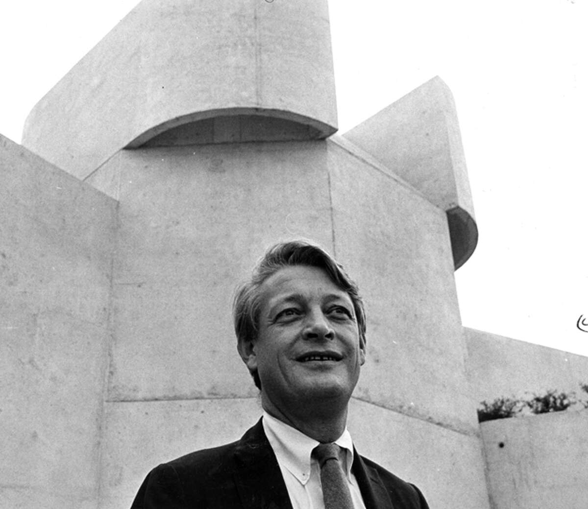 Architect Ulrich Franzen, outside the Alley Theatre at its November 1968 opening. The Alley was the first of the Brutalist buildings that made him famous.