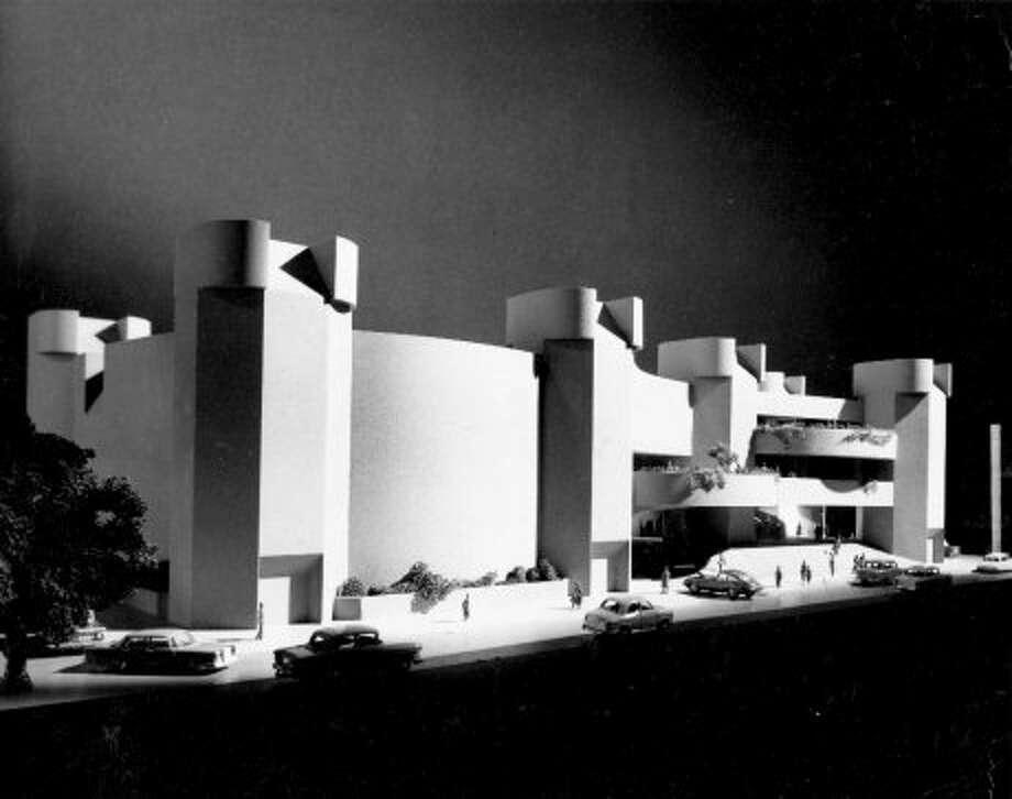 Model of proposed new home of Alley Theatre, August 1965. (Ulrich Franzen & Associates)