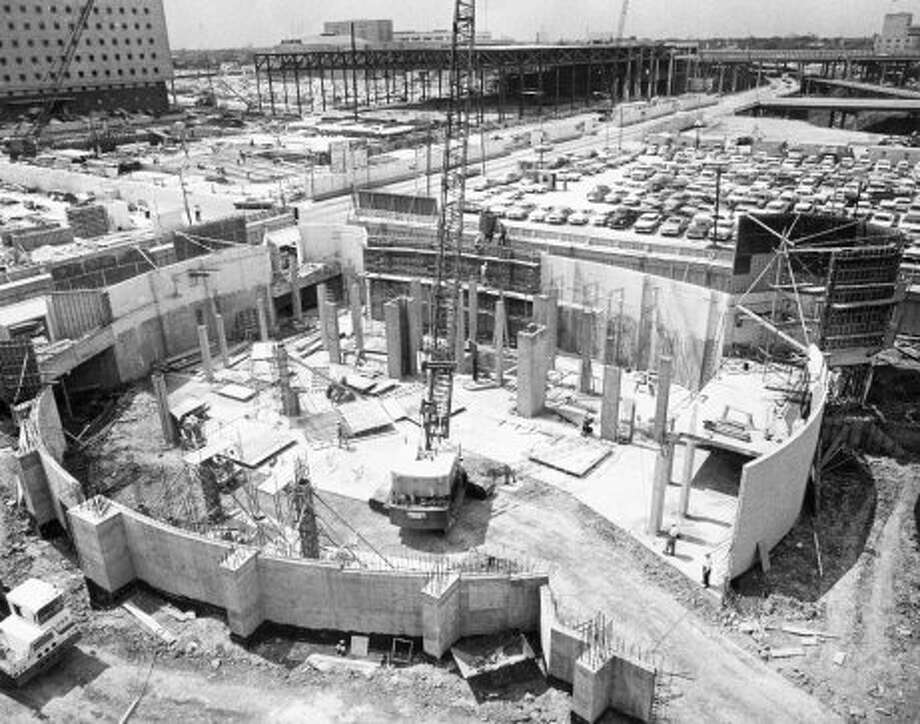 Alley Theatre construction, April 1967. (Houston Chronicle)
