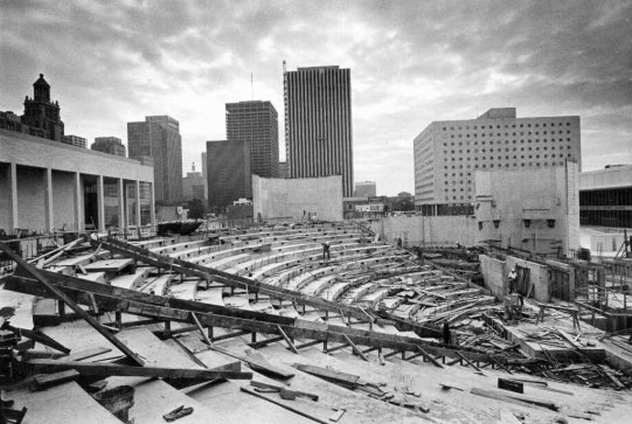 This is what the inside of the main theatre at the Alley looked like, before the sides and ceiling were poured. Final touches to the exterior are by sandblasting the concrete. Published Nov. 24, 1968. Photo taken January 1968. (Houston Chronicle)