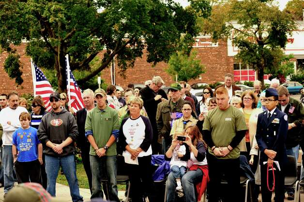 The Walk of Honor ceremony at the Danbury War Memorial Sunday Oct. 14, 2012. Photo: Michael Duffy
