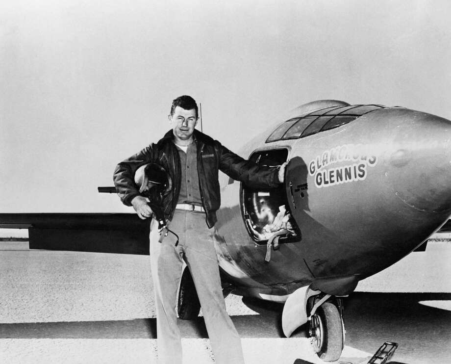 "In 1949 Captain Chuck Yaeger was the first man to reach supersonic speeds in the 50th flight of the Bell X-1, dubbed ""Glamorous Glennis."" Photo: Anonymous, Copyright Bettmann/Corbis / AP I / AP1949"