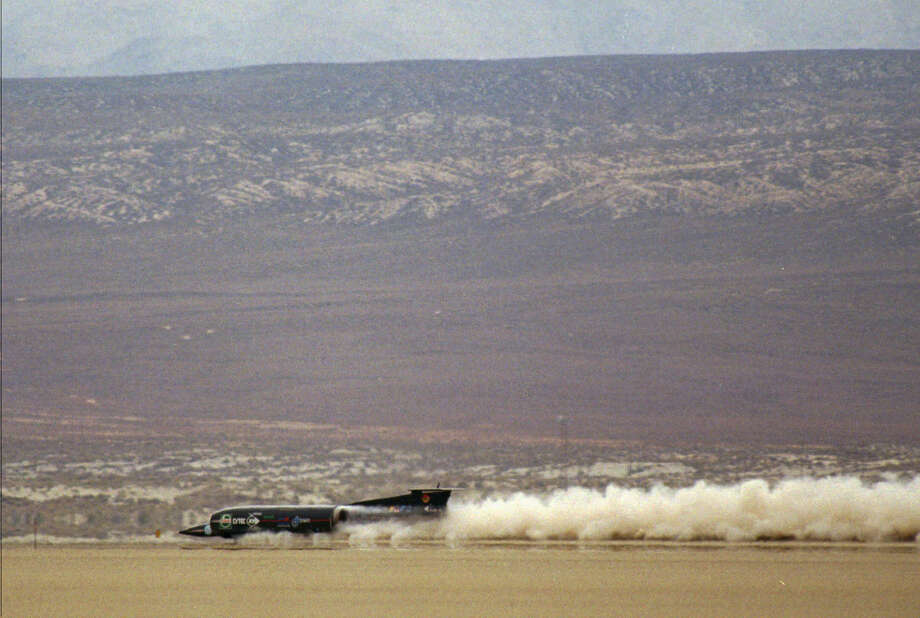 In 1997 the Thrust SSC, driven by Royal Air Force pilot Andy Green, became the first land vehicle to break the speed of sound. Photo: SAM MORRIS, ASSOCIATED PRESS / AP1997