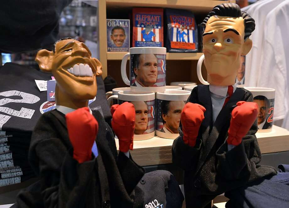 Dolls depicting President Obama (left) and challenger Mitt Romney sit in a gift shop at the Baltimore-Washington International Thurgood Marshall Airport. Their next debate is on Tuesday. Photo: Jewel Samad, AFP/Getty Images