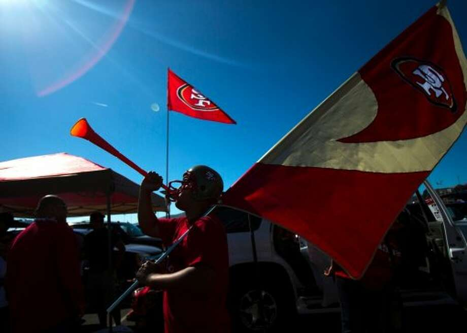 Clarence Villareyes of Daly City makes noise with a vuvuzela in the parking lot prior to a game between the San Francisco 49ers and visiting New York Giants at Candlestick Park in San Francisco, Calif., on Sunday October 14, 2012. (Stephen Lam / Special to The Chronicle)