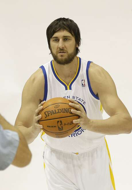 Golden State Warriors' Andrew Bogut, from Australia, during media day at an NBA basketball training facility in Oakland, Calif., Monday, Oct. 1, 2012. (AP Photo/Jeff Chiu) Photo: Jeff Chiu, Associated Press